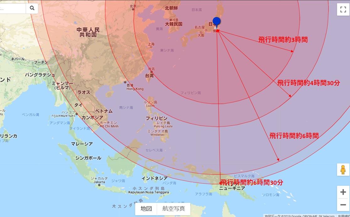 地図で見る!飛行時間別の海外旅行先
